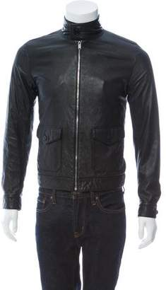 Saint Laurent Leather Zip-Up Jacket w/ Tags