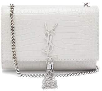 Saint Laurent Kate Small Crocodile Effect Leather Cross Body Bag - Womens - White