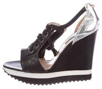 Ruthie Davis Leather Wedge Sandals