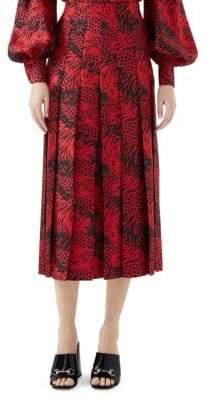 Gucci Silk Twill Printed Pleated Skirt