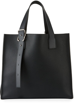 Loewe Men's Leather Tote Bag with Buckle Straps