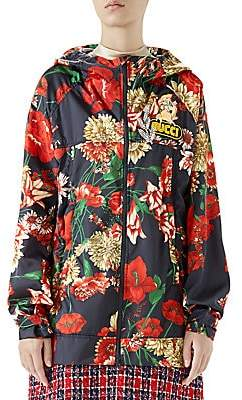 Gucci Women's Long-Sleeve Floral Logo Zip-Up Hooded Jacket