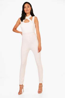 boohoo Andrea Choker Style Skinny Leg Jumpsuit
