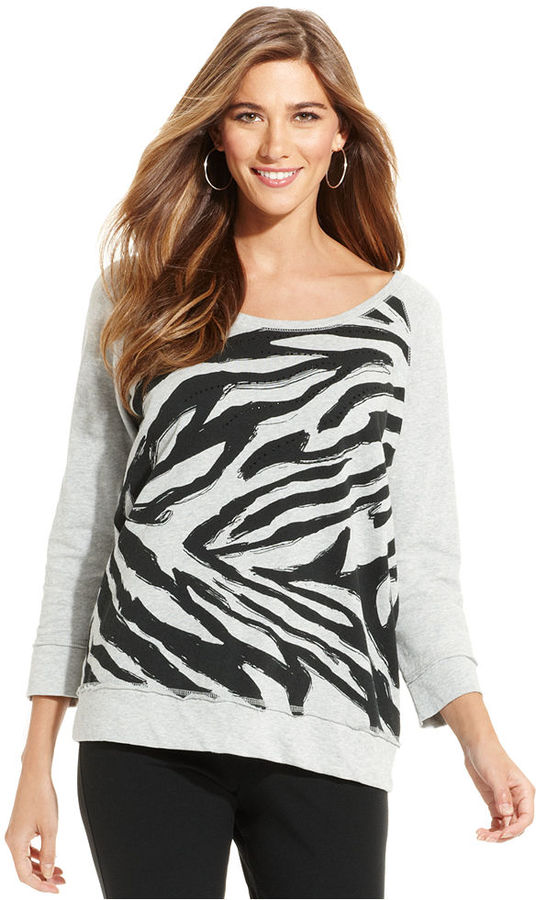 Style&Co. Sport Top, Three-Quarter-Sleeve Animal-Print Sweatshirt