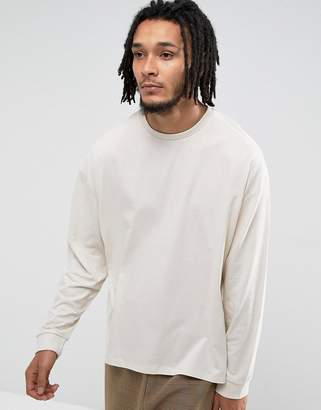 Asos DESIGN Oversized Long Sleeve T-Shirt With Cuffs In White