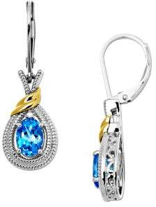 Lord & Taylor Sterling Silver Earrings with 14Kt. Yellow Gold Blue Topaz and Diamond Accent
