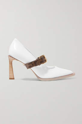 Fendi Logo-print Coated Canvas And Patent-leather Mary Jane Pumps - White