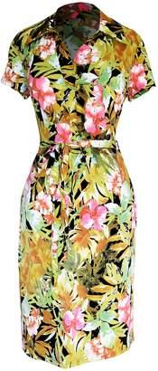 Couture Peach Boho Geometric V Neck 3/4 Sleeves Shift Dress (S, )