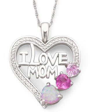 FINE JEWELRY Multi-Gemstone I Love Mom Heart Pendant Necklace
