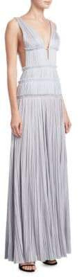 J. Mendel Pleated Deep V-Neck Gown