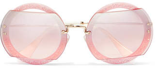 Miu Miu Cutout Round-frame Glittered Acetate And Gold-tone Sunglasses - Pink