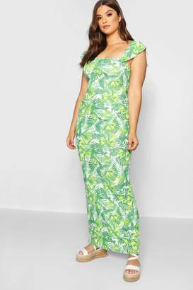 boohoo Plus Off The Shoulder Ruffle Palm Print Maxi Dress