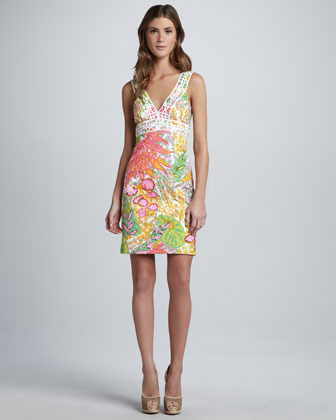Trina Turk Secret Printed V-Neck Dress