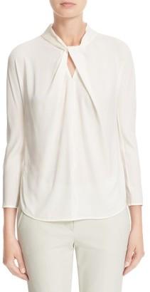 Women's Armani Collezioni Faux Tie Charmeuse Top $695 thestylecure.com