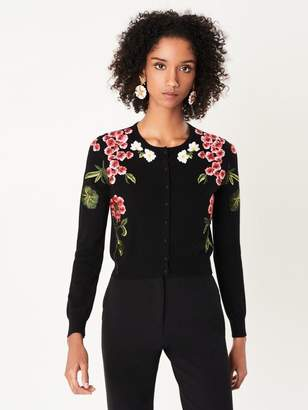 Oscar de la Renta Botanical Embroidered Wool Cardigan