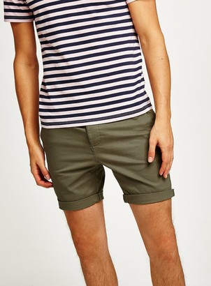 Topman Khaki Stretch Skinny Chino Shorts