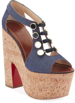 Christian Louboutin Ordonanette 160 Denim Platform Red Sole Sandals