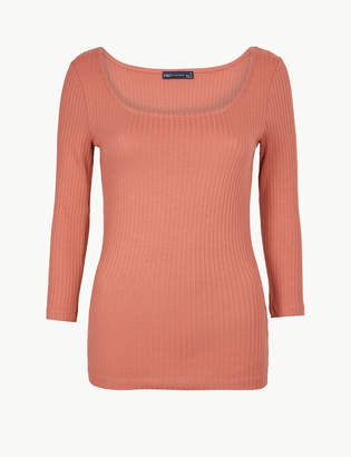 M&S CollectionMarks and Spencer Textured Scoop Neck 3/4 Sleeve T-Shirt