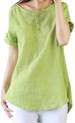 TONSEE Women's Casual Loose Short Sleeve Cotton Linen Shirt Blouse Tops (XL, )