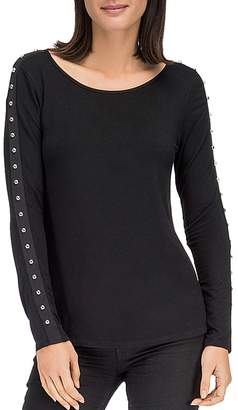 Bobeau B Collection by Amber Stud Sleeve Top