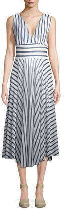 Fuzzi Striped Hollywood V-Neck Dress