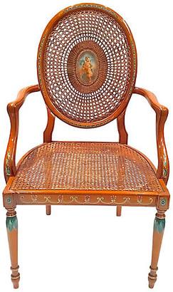 One Kings Lane Vintage Cherub Medallion Hand-Painted Armchair - Vermilion Designs