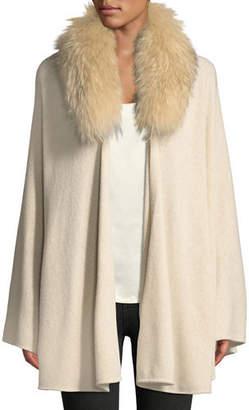Halston Cape-Sleeve Cardigan Sweater w/ Detachable Fur Collar