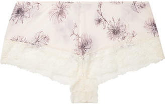 Hanro Camille Lace-trimmed Printed Jersey Pajama Shorts - Cream
