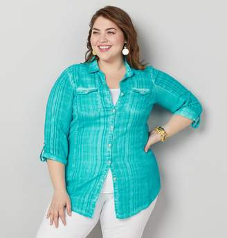 608e45d47e Avenue Plus Size Textured Roll Tab Knit To Fit Shirt
