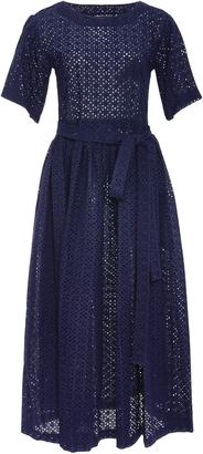 Lisa Marie Fernandez Short Sleeve Navy Eyelet Midi Dress $695 thestylecure.com