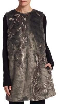 Elie Tahari Marsha Floral Faux Fur Vest