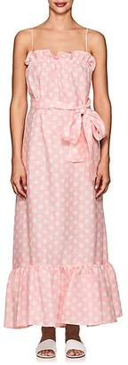 Lisa Marie Fernandez Women's Liz Polka Dot Linen Maxi Dress - Pink