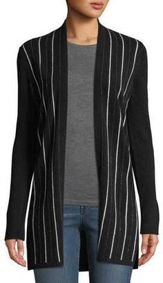 Neiman Marcus Cashmere Chain-Stripe Cardigan
