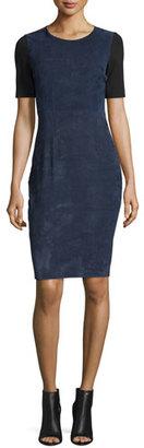 Elie Tahari Emily Colorblock Combo Sheath Dress, Blue Navy $748 thestylecure.com