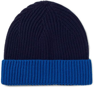 Altea Two-Tone Ribbed Virgin Wool Beanie - Navy