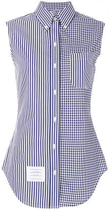 Thom Browne sleeveless striped checkered shirt