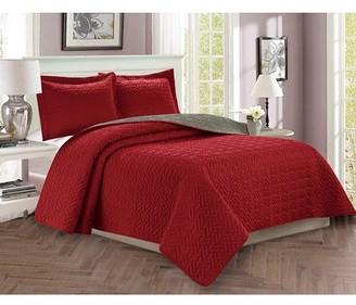 Elegant Comfort Celine Linen 3-Piece Bedspread Coverlet Quilted Set with Shams - King/California King, Burgundy/Gray