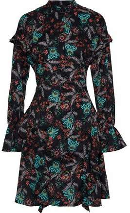 W118 By Baker Fiona Ruffled Floral-Print Crepe De Chine Dress