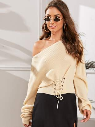 Shein Boat Neck Lace Up Front Sweater