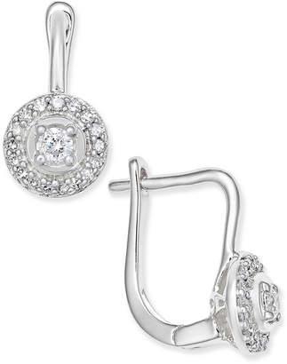 Macy's Diamond Circle Leverback Earrings (1/5 ct. t.w.) in 14k White Gold
