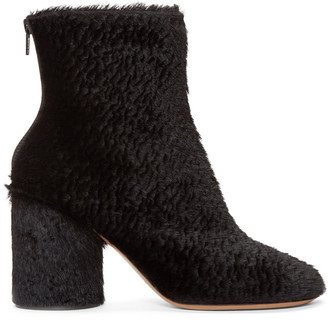 Maison Margiela Black Embossed Calf-Hair Boots $975 thestylecure.com