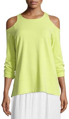 Joan Vass Plus Size Cold-Shoulder Long-Sleeve Top