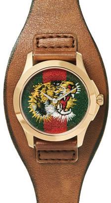 Gucci Le Marché Des Merveilles 38mm Gold-Tone And Leather Watch