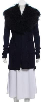 Victor Alfaro Shearling-Trimmed Contrasted Coat