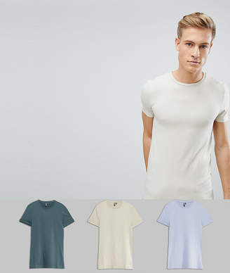 Asos Design DESIGN muscle fit crew neck t-shirt 3 pack SAVE