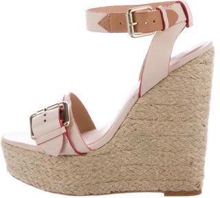 Pour La Victoire Leather Wedge Sandals $65 thestylecure.com