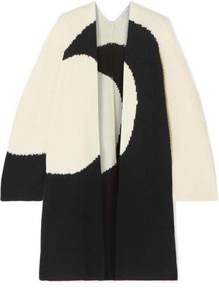 Valentino Oversized Intarsia Wool Cardigan - Ivory