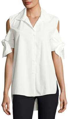 Halston Tie-Sleeve Long Cotton Shirt