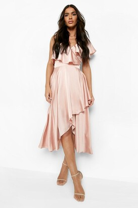 boohoo Sabina Satin Wrap Detail Skater Dress