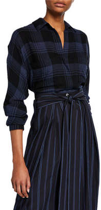 Vince Heathered Plaid Long-Sleeve Pullover Top